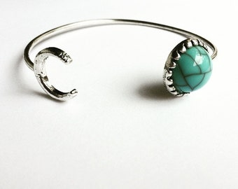 Stainless steel moon cuff