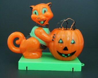 Vintage Rosbro Halloween Cat and Pumpkin