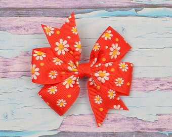 Girls ribbon bow, Christmas hair clip, wholesale hair clips, Boutique hair bows, baby hair clips, toddle girl hair clip, 5pcs,  HEA-44
