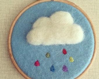 Rainbow Cloud Embroidered Felt Hoop