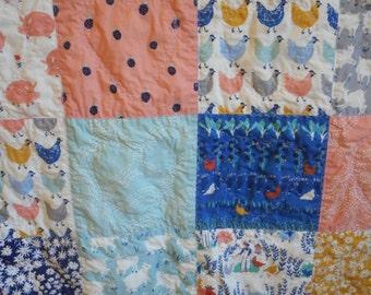Handmade, Organic Baby Quilt, Homested Motif, Gender Neutral, Boy, Girl
