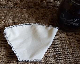 Set Of Two #4 Cone Style Coffee Filters. Traditional Hot Brew 8 to 12 Cup. Reusable Filter. Made With 100% Organic Cotton.