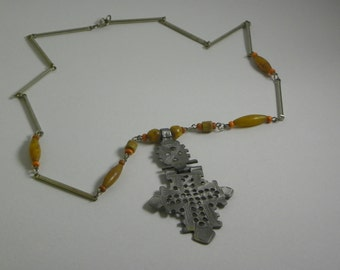 Brushed Metal and Acrylic Necklace