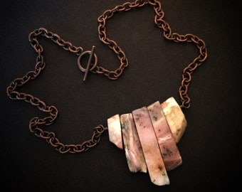 Pink Opal and Copper Necklace