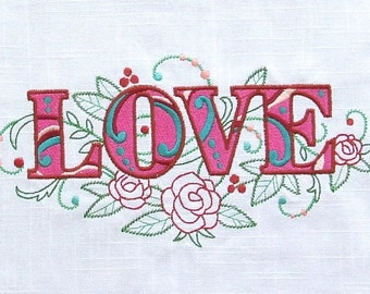 EMBROIDERED QUILT BLOCK or panel, 100% cotton (Love)