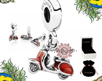 s925 Genuine Pandora, Red Scooter Pendant Charm 791140EN42 - Box or Pouch