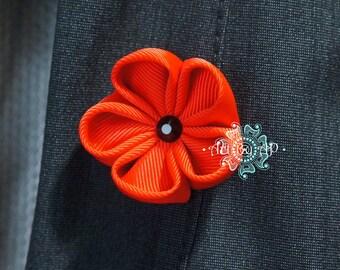 Red Poppy Brooch, Pin,  Fabric  (handmade)