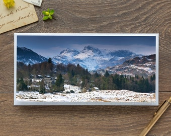 Langdale Pikes from Eltermere - Single Blank Card / Birthday / Thank You / Notelet / Christmas