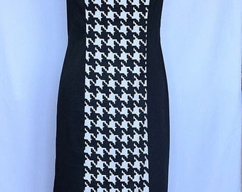 Houndstooth Panel Dress - Size 12