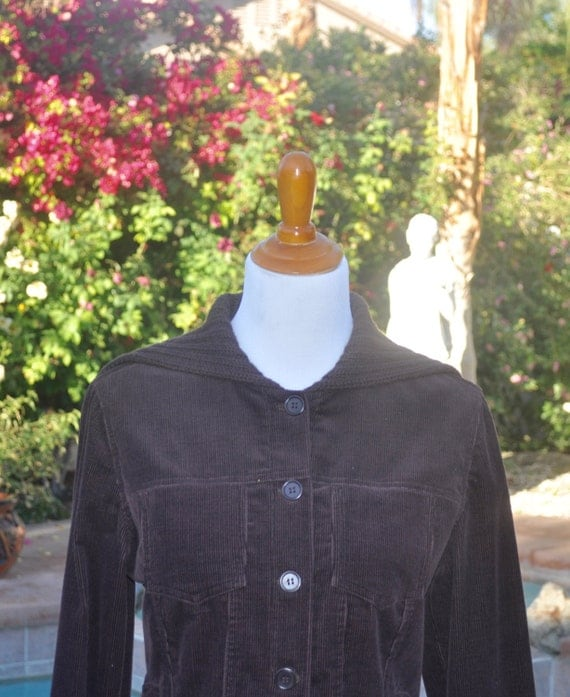 Margaret O'Leary of San Francisco Knit and Corduroy Women's Brown Jacket Sz M