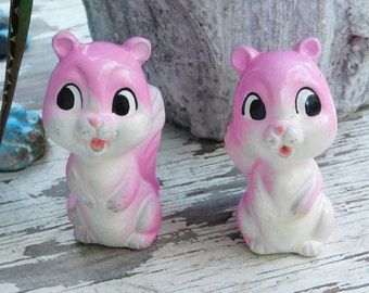 Vintage Big Eyed Kitsch Pink Squirrel Salt & Pepper Shakers JAPAN