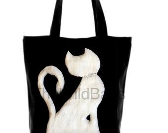 Genuine Swarovski,unique,lightweight,pure cotton, black bag,white,cat,navy bag,red bow, tote,bag,handmade,love bag, bag with a cat,diamonte