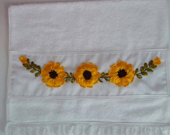 Embroidery ribbons kitchen or bathroom towel