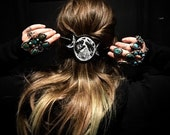 Lunar SET  Custom Leather Hair Slide w/ Brutal Forged Pin - Moon Phases - Mother Maiden Crone - Triple moon goddess  - Occult - Witch - Goth