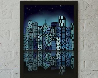 BLUE CITY Art Print, Wall Art, Home Decor, Childrens Room Print,Home Print,Loft Art Print