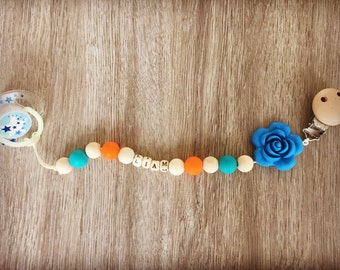 Free shipping! Personalized pacifier cord with name! Bright colors