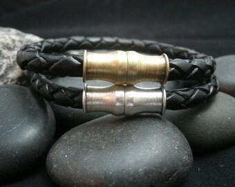 Men's Leather Bracelet Black Braided Leather Brass Magnetic Clasp Choice of Clasp Antique Bronze Antique Silver Men's Bracelet Women's
