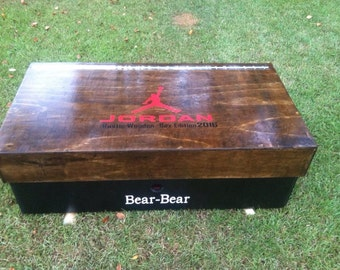 Large Wooden Jordan Shoe Box