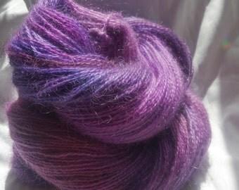 hand dyed mohair, 100g/335m,  4 ply yarn- purple rain