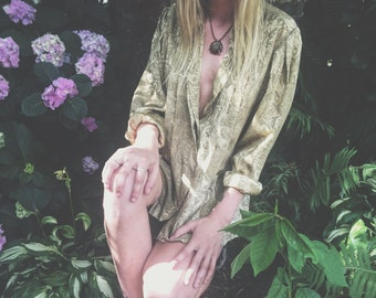 gold patterned button down