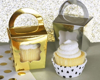 Metallic Gold and Silver cupcake totes-set of 12- cupcake favor boxes, gold cupcake boxes, silver cupcake boxes, cupcake favors, cupcake box