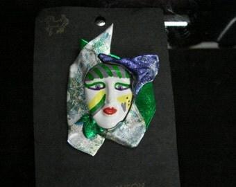 Unique hand painted mask lapel