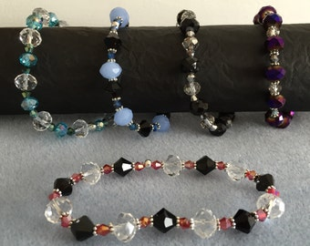 Stretchy crystal beaded bracelet