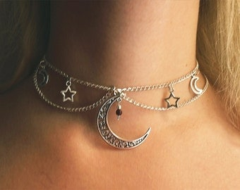 Celeste double chain choker necklace stars crescent moon natural stone crystal