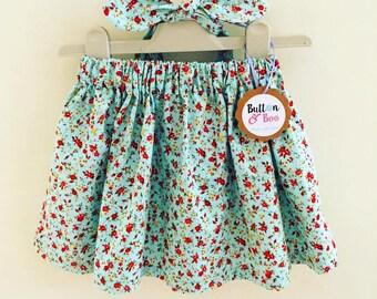 Secret Garden skirt and matching head-tie