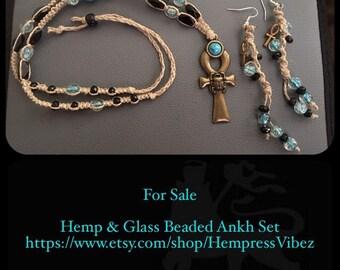 Glass Beaded Goddess Ankh Necklace Set