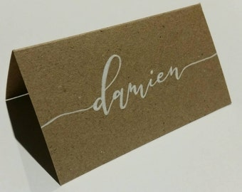 Hand lettered kraft place cards