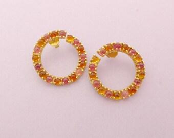18k Hoop earrings, round earrings, yellow pink gems, pink Tourmaline, yellow Citrine, cabochon gemstones, stud earrings, gift for her, ooak,