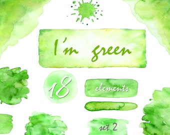 I'm green set 2 - Watercolor clipart Splashes rectangle corner brush strokes stains circles abstract forms digital background commercial use