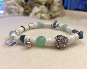 White coral, jade, and turquoise bracelet
