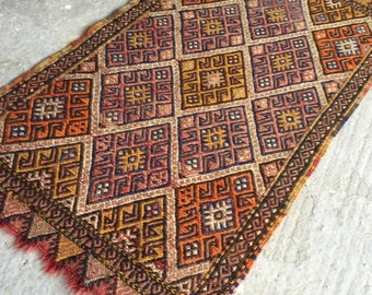 1'7''x2'9'' Small Kilim Rug , Handmade Turkish Kilim ,  15% DISCOUNTED