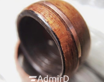 Wine Barrel Ring with 2 Wood Species and Copper Inlay