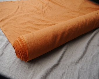 Pure 100% linen fabric Burnt Orange color. For clothes, other wide usage.