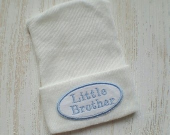 Little brother hospital hat- boy hospital hat, baby boy hat, baby boy newborn, baby boy beanie, baby boy hospital hat, blue hospital hat
