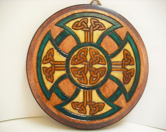 Celtic Cross Wooden Wall Plaque