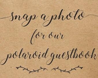 Wedding Polaroid Guestbook Printable, Snap a Photo, Polaroid Guestbook 8x10, Wedding Caligraphy Guestbook, Polaroid Wedding Printable