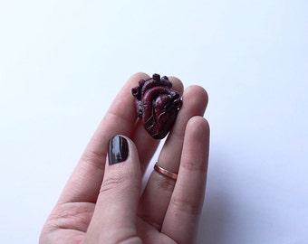 Handmade anatomical human heart brooch
