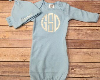 Baby Boy Gown, Welcome Home Baby, Baby Boy, Personalized Baby Gift, Baby Gift, Monogrammed Baby Gown