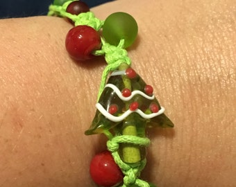 Christmas Tree Macrame Hemp Bracelet