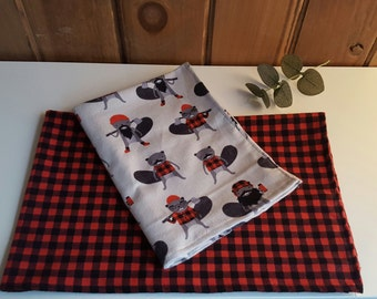 Duo flannel baby blanket
