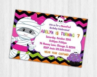 Halloween Birthday Invitation, Printable Party Invitations, Kids Birthday Invitations, Halloween Mummy invitations