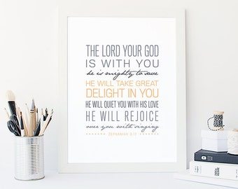 Zephaniah 3:17 Printable, Bible Verse Art, Scripture Print, Typography Wall Quote, Instant Download, Art Print, High-res Printable