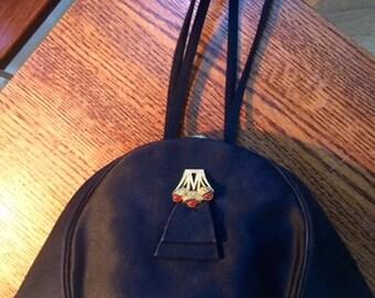wonderful vintage 1950s black satin evening bag wristlet