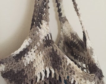 Market bag/beach bag, 100% cottton, hand crocheted.