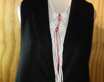 white and red long necklace