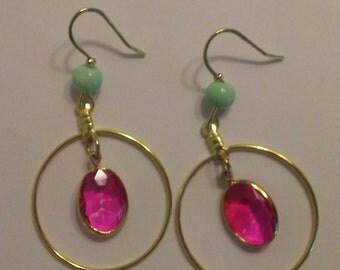 Gold Pink Crystal Drop Earrings